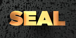 Seal - Gold text on black background - 3D rendered royalty free stock picture Royalty Free Stock Photography