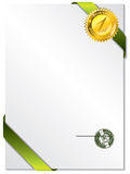 Seal on green ribbon and paper Royalty Free Stock Photo