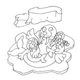 The seal and her children chine coloring for kids Stock Image