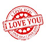 Seal - I love you. Damaged red round stamp with the words I love you - illustration Stock Photography