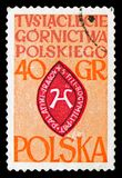 Seal of kopasyni Family, 1000 years of the Polish mining industry serie, circa 1961. MOSCOW, RUSSIA - SEPTEMBER 15, 2018: A stamp printed in Poland shows Seal of royalty free stock image