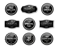 Seal labels and premium quality product. Black silver seal labels and premium quality set stock vector image Stock Photo