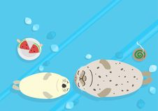 Seal parent and child background. Seal parent and child lying down on ice, background for summer time stock illustration