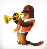 Seal playing trumpet. Funny character, vector mesh vector illustration