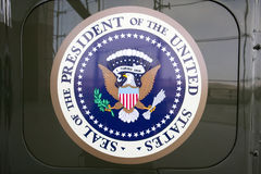 Seal of the President of the United States on display at the Ronald Reagan Presidential Library and Museum, Simi Valley, CA stock photos