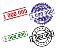 Scratched Textured 1 000 000 Stamp Seals. 1 000 000 seal prints with corroded style. Black, green,red,blue vector rubber prints of 1 000 000 title with scratched royalty free illustration
