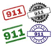 Damaged Textured 911 Seal Stamps. 911 seal prints with corroded surface. Black, green,red,blue vector rubber prints of 911 tag with scratched surface. Rubber Stock Illustration