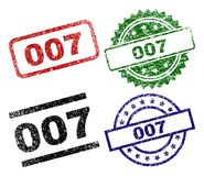 Grunge Textured 007 Stamp Seals. 007 seal prints with corroded texture. Black, green,red,blue vector rubber prints of 007 text with dust texture. Rubber seals vector illustration