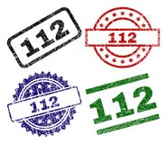Grunge Textured 112 Stamp Seals. 112 seal prints with damaged style. Black, green,red,blue vector rubber prints of 112 caption with corroded style. Rubber seals vector illustration