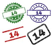 Scratched Textured 14 Seal Stamps. 14 seal prints with distress style. Black, green,red,blue vector rubber prints of 14 label with dust style. Rubber seals with vector illustration