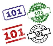 Scratched Textured 101 Stamp Seals. 101 seal prints with distress texture. Black, green,red,blue vector rubber prints of 101 text with corroded texture. Rubber royalty free illustration