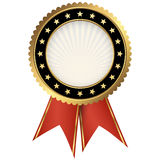 Seal of quality black with ribbons Royalty Free Stock Photos