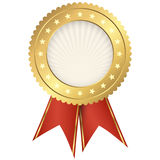 Seal of quality gold with ribbons Stock Photography