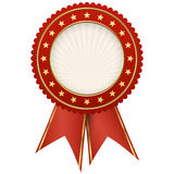 seal of quality red with ribbons Royalty Free Stock Photos