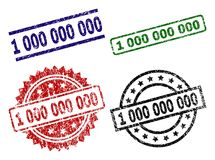 Scratched Textured 1 000 000 000 Stamp Seals. 1 000 000 000 seal stamps with corroded texture. Black, green,red,blue vector rubber prints of 1 000 000 000 tag royalty free illustration