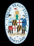 Seal of State of Maryland. Great Seal of Maryland State brightly painted bas relief sculpture; background color is easy to change Stock Image