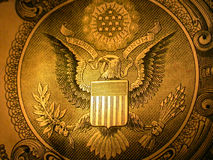 Seal of the United States. A closeup view of the obverse side of the Great Seal of the United States as it appears on the back of a US dollar royalty free stock photo