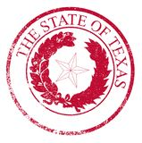 Texas State Rubber Stamp Seal. The seal of the United Steas of American state TEXAS isolated on a white background as a red ink rubber stamp Stock Images