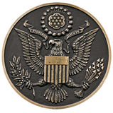 Seal of the us. Close up of a bronze plaque of a great seal of the united states,front view, clipping path Stock Images