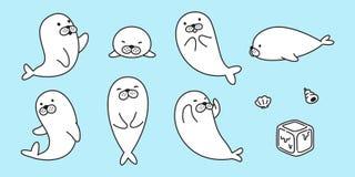 Seal vector logo icon walrus sea lion bear polar bear character cartoon clip art illustration doodle. Seal vector logo icon walrus sea lion bear polar bear clip vector illustration
