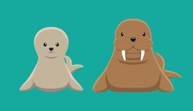 Seal Walrus Doll Set Cartoon Vector Illustration Stock Photography