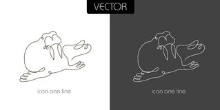 Seal, walrus icon on white and black. Background one line for the logo, sign, symbol Stock Photos