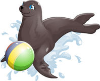 Seal. Who joyfully plays with a ball royalty free illustration