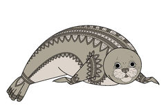 Seal Zentangle vector. Phoca Zen Tangle. Wild animals of Antarctica. Northern wildlife. Royalty Free Stock Images