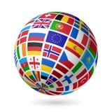 Señala el globo por medio de una bandera. Europa. Fotografía de archivo