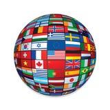 Señala el globo por medio de una bandera Icono creativo para el texto y el diseño Fotografía de archivo libre de regalías