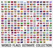 Señala el vector por medio de una bandera del mundo Foto de archivo