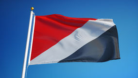 Sealand flag in slow motion seamlessly looped with alpha. Sealand flag waving in slow motion against clean blue sky, seamlessly looped, close up, isolated on stock footage