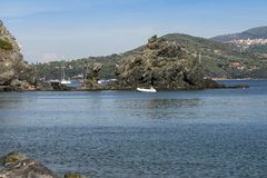 Sealandscape of Acquarilli on Elba Island, Italy. Wonderful panorama from Acquarilli beach. White boats on the background of the blue sky. This place is located stock image