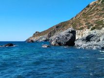 Sealandscape of Le Tombe on Elba Island, Italy. Wonderful panorama from Le Tombe beach. This place is located on Elba Island, in Tuscany, Italy. The island is a royalty free stock image