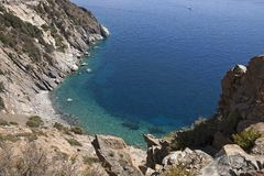 Sealandscape of S. Andrea on Elba Island, Italy. Wonderful panorama from S. Andrea beach. This place is located on Elba Island, in Tuscany, Italy. The island is royalty free stock photography
