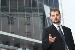 Señalar al hombre de negocios Imagen de archivo libre de regalías