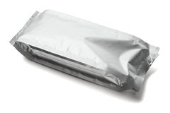 Sealed Aluminum Pouch. Blank Packaging Aluminum Pouch on White Background Stock Photo