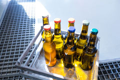 Sealed beer bottle in carte. At bewery royalty free stock photography