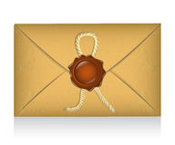 Sealed envelope with sealing wax Stock Photo