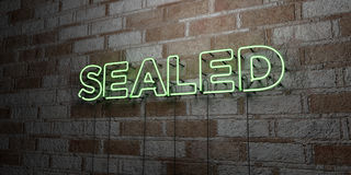 SEALED - Glowing Neon Sign on stonework wall - 3D rendered royalty free stock illustration Royalty Free Stock Images