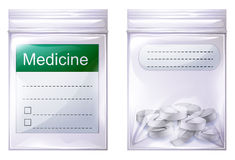 A sealed medicine pouch. Illustration of a sealed medicine pouch on a white background Royalty Free Stock Images