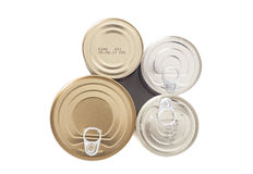 Sealed metal cans Stock Photo