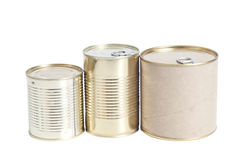 Sealed metal cans isolated on white Royalty Free Stock Photography