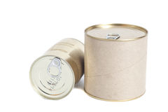 Sealed metal cans isolated on white Royalty Free Stock Photos