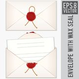 Sealed and Opened Envelope with Blank Letter Royalty Free Stock Photography
