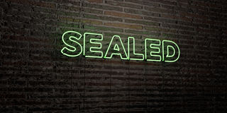 SEALED -Realistic Neon Sign on Brick Wall background - 3D rendered royalty free stock image Royalty Free Stock Photos