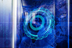 Sealed room mainframes in big data center with technological background Stock Images