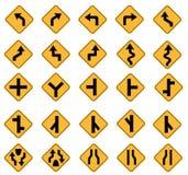 Señales de tráfico amarillas Fotos de archivo