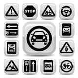 Señales de tráfico autos Fotos de archivo