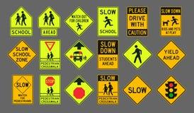 Señales de tráfico de los peatones Fotografía de archivo